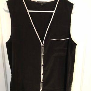 Rachel Zoe Black w/ White Trim Silk Shell, Size 8